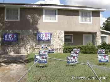 A Florida man drove a stolen bulldozer through a neighborhood and destroyed Biden-Harris campaign signs, police say
