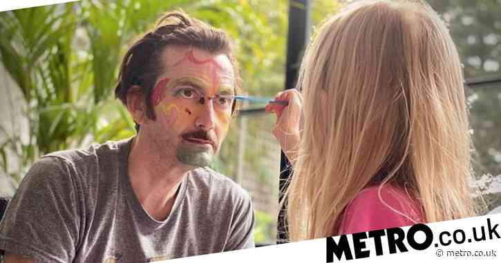 David Tennant patiently lets daughter paint his face as he tries to keep kids entertained in lockdown half term