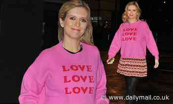 Rachel Riley looks radiant in a pink jumper and mini skirt
