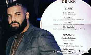 Drake's fans are left puzzled and disgusted by the unorthodox menu from his 34th birthday party