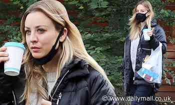 Kaley Cuoco bundles up in cable knit sweater for spa day in Toronto... following 14-day quarantine