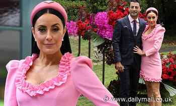 Terry Biviano dresses in head-to-toe pink as she attends the Melbourne Cup Carnival Launch