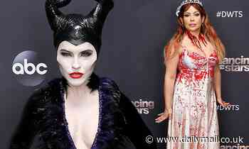 Chrishell Stause dresses as Maleficent while Justina Machado is Carrie on DWTS' Halloween episode