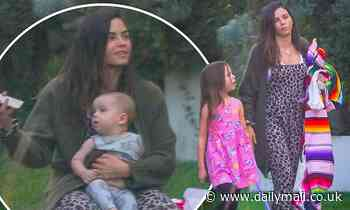 Jenna Dewan goes barefoot as she enjoys a fun-filled park outing with her family in LA