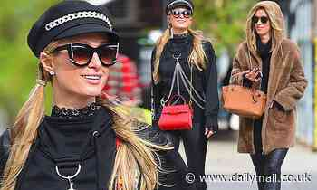 Paris Hilton and younger sister Nicky rock leather leggings for mask-free stroll and lunch in SoHo