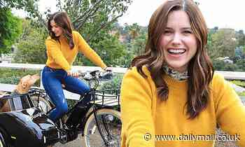 Sophia Bush cruises around with beloved rescue dog Maggie on her Bluejay electric bicycle