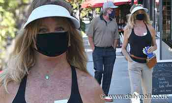 Goldie Hawn looks fit as a fiddle while she and longtime love Kurt Russell run errands out in LA