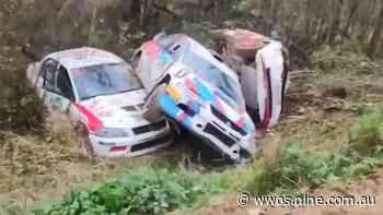 Wild scenes in six car pile-up at Pskov Rally in Russia - Wide World of Sports