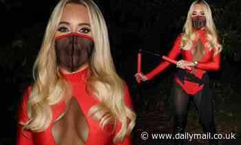 TOWIE's Amber Turner channels her inner warrior in plunging semi-sheer leotard for Halloween special