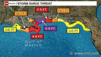 Zeta strengthens into a hurricane as it barrels toward the US with life-threatening storm surge