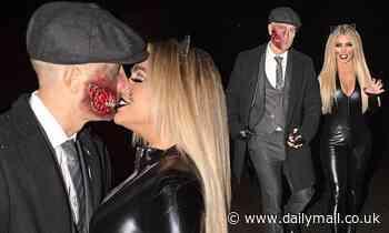 Bianca Gascoigne packs on the PDA with zombie beau Kris Boyson on Halloween night out