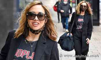 Myleene Klass perfects a rocker chic look with statement t-shirt and leopard print