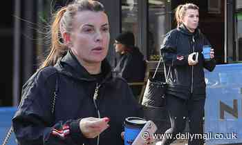 Coleen Rooney is stylish in a £4,470 Chanel bucket bag as she grabs a takeaway coffee inCheshire
