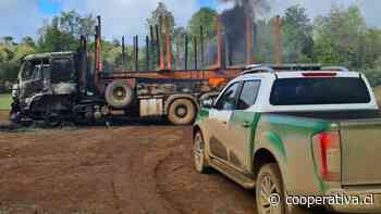 Ataque incendiario dejó ocho máquinas forestales quemadas en Lumaco