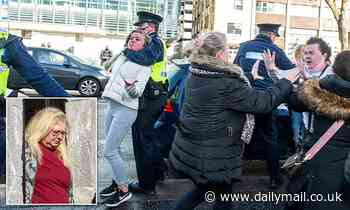 Brawl breaks out outside court as mother is convicted of murdering her ex-husband