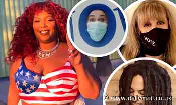 Lizzo pulls up to voting drop-box in patriotic bustier... as more celebs cast their ballots