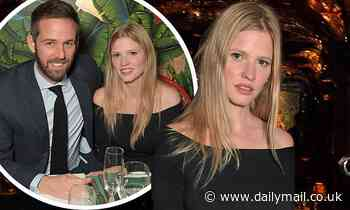 Lara Stone cuts a stylish figure in a black dress on a night out with her fiancé David Grievson