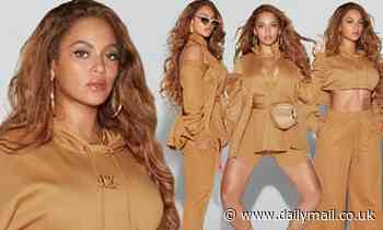 Beyonce models a slew ofhoney-toned pieces from her upcomingAdidas x Ivy Park range