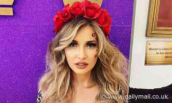 Amy Hart channels Carole Baskin in a red floral headpiece and plunging leopard print top
