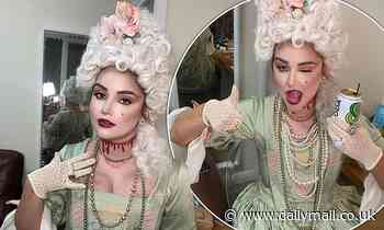 Jacqueline Jossa sips soda dressed as a bloodied Marie Antoinette on her birthday