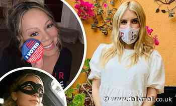 Voting 2020: Pregnant Emma Roberts shows off a VOTE mask, Mariah Carey says 'every vote counts'