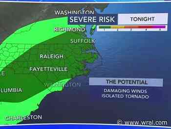 One-two punch of severe weather with second system arriving overnight bringing potential for damaging winds, isolated tornadoes