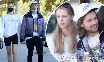 Patrick Schwarzenegger and Abby Champion put their love on display and pack on PDA during lunch date