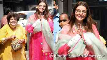Bride-to-be Kajal Aggarwal looks gorgeous in pink as she heads for her wedding with her mother