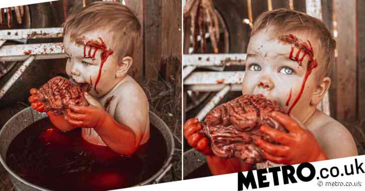 Mum shares gory snaps from her baby zombie photoshoot for Halloween