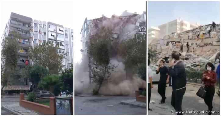 Terremoto a Smirne, il palazzo crolla in pochi secondi: persone in fuga ed edifici abbattuti