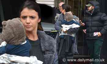 Lucy Mecklenburgh cuddles son Roman as she and fiance Ryan Thomas stop off at the garage