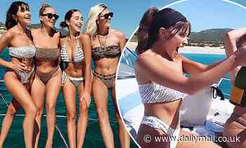 Olivia Culpo parties on a boat with her sister Sophia and pal Devon Windsor amid escape to Cabo