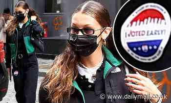 Bella Hadid rocks an 'I Voted' sticker and hits the polls in style as she votes early in NYC