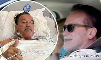 Arnold Schwarzenegger, 73, is seen smiling as drives around LA after undergoing heart surgery