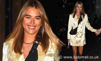 Love Island's Arabella Chi puts on a leggy display in  yellow suit-style minidress
