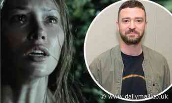 Justin Timberlake urges his fans to vote with a scene from his wife Jessica Biel's horror film