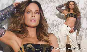 Kate Beckinsale wears custom gold bra to encourage people to vote