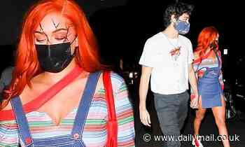 Stassie Karanikolaouand Noah Centineo are seen holding hands while leaving a private Halloween bash