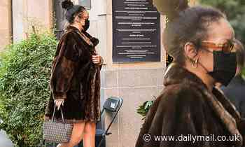 Rihanna serves pure opulence in brown fur coat as she returns to set of music video at hotel in DTLA