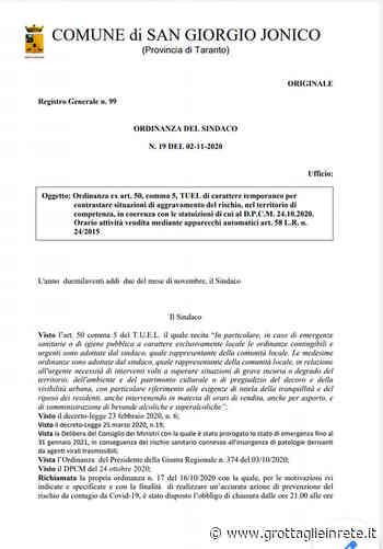 Covid San Giorgio Ionico, emanata ordinanza su Distributori H24 - Grottaglie in rete