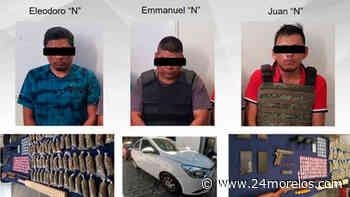 Detienen en Jojutla a tres hombres con droga y armas - 24 Morelos