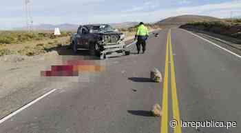 Arequipa: Mujer y niño fallecen tras despiste de camioneta en Chivay   lrsd - LaRepública.pe