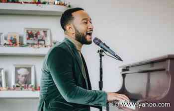 John Legend Wears Cozy Boots, Festive Green Velvet Suit for Sperry Holiday Concert - Yahoo Lifestyle