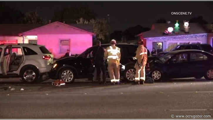 3 hospitalized, including Anaheim police officer, after chain reaction crash