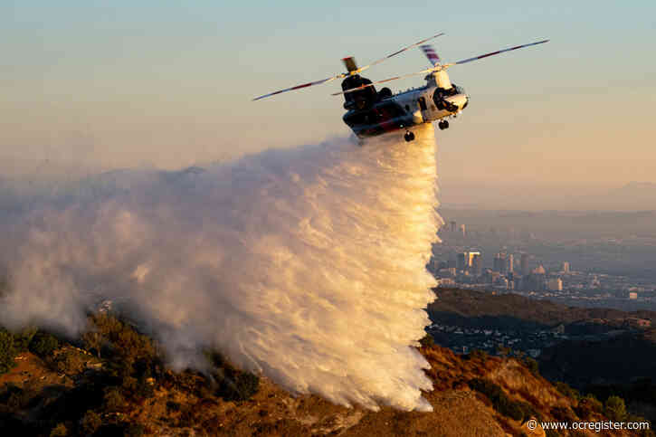 'World's largest helitanker' demonstrates firefighting water drops in Topanga