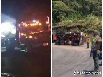 30 horas después en la vía Pasto-Chachagüí lograron mover el camión cisterna que se volcó con asfalto líquido caliente - TuBarco