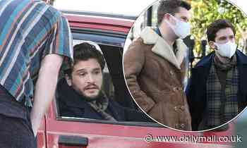 Kit Harington pictured chatting to his co-stars as he films series two of Modern Love in Ireland