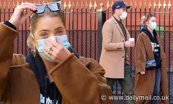 Ashley Benson and G-Eazy are simpatico in fall fashion in brown jackets to grab coffee in New York