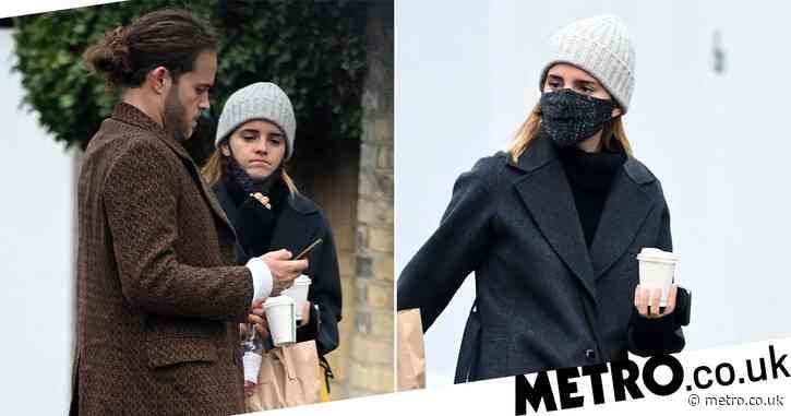 Emma Watson and boyfriend Leo Robinton get their caffeine fix as they grab coffee on cute park date