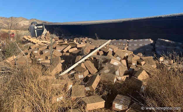 Truck carrying 50,000 pounds of cookie dough overturns in Cajon Pass